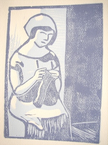 Woman knitting, rubber block reduction print, 2008.