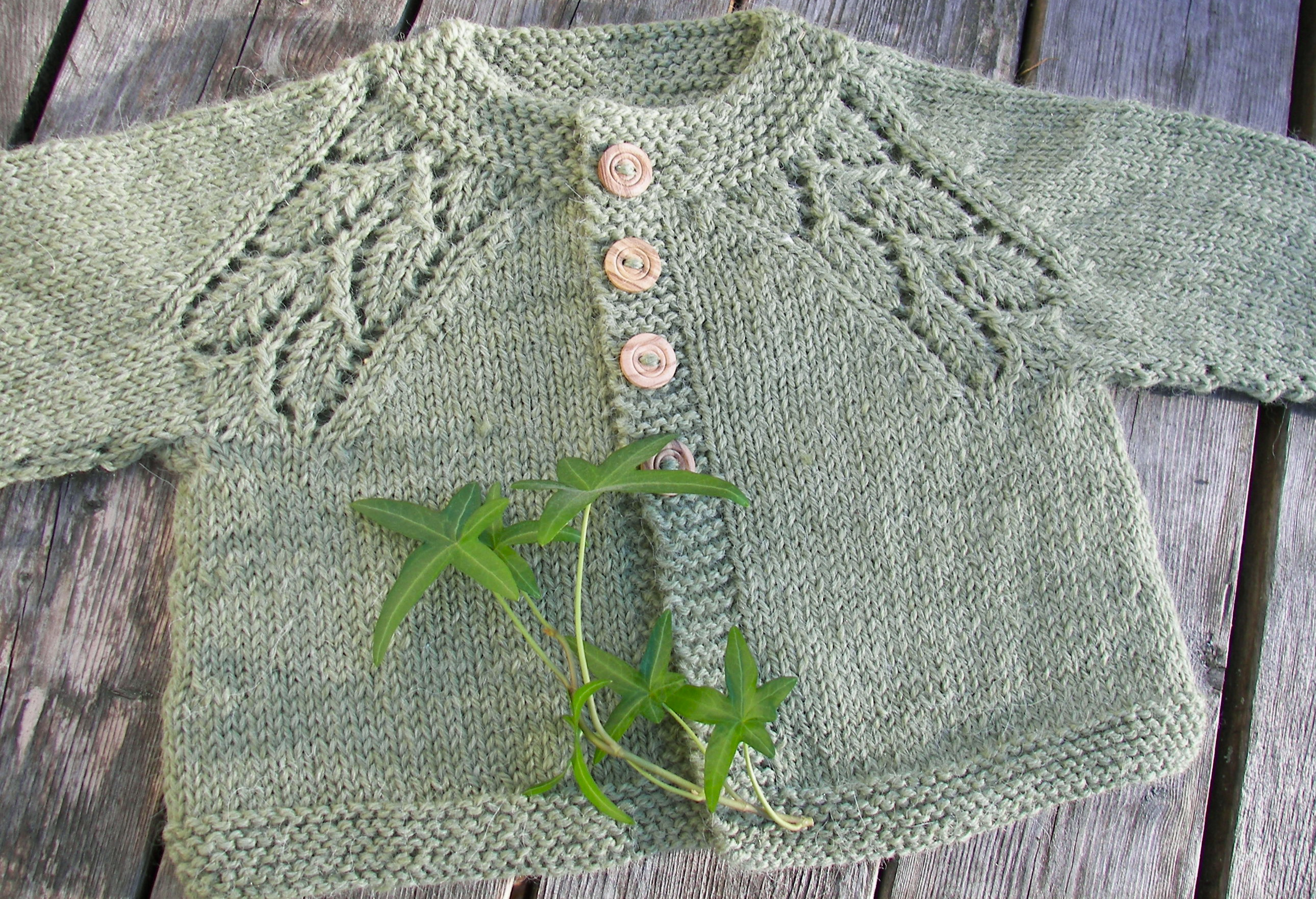 Knit Leaf Pattern Baby Sweater : baby sweater Nettles Notes